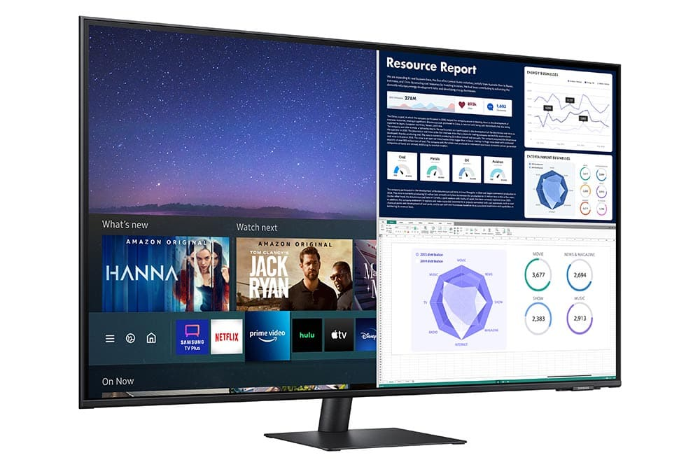 """43"""" Samsung flat monitor M70A series L-Perspective_Black"""
