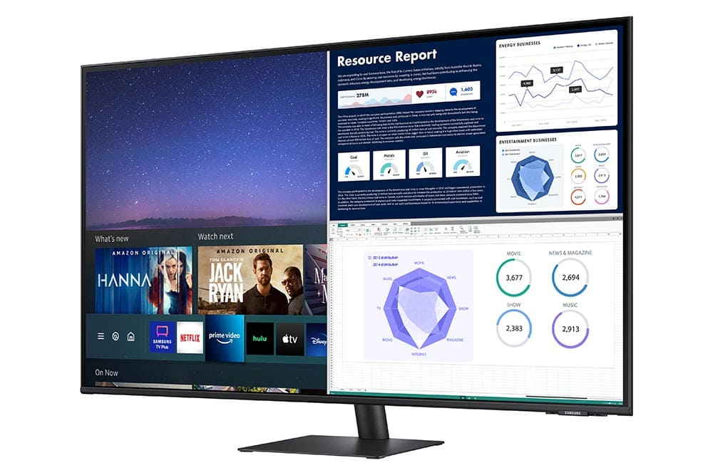 """43"""" Samsung flat monitor M70A series R-Perspective_Black"""