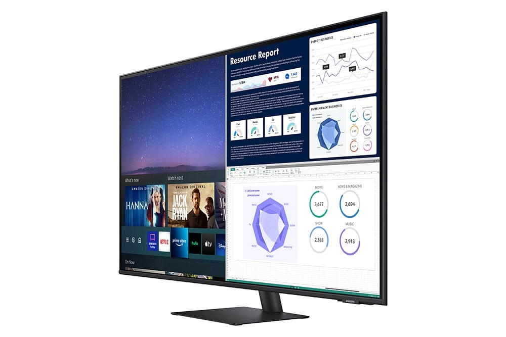 """43"""" Samsung flat monitor M70A series R-Perspective2_Black"""