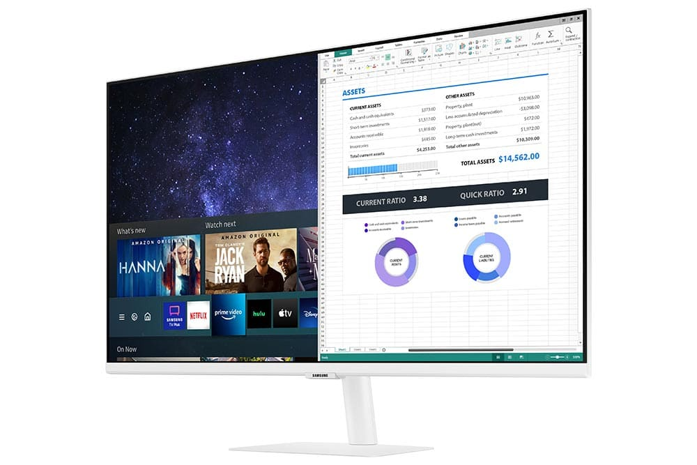 """32"""" Samsung flat monitor M50A White series R-Perspective"""
