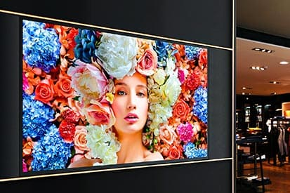 Large UHD digital displays differentiate fashion retailers from the competition