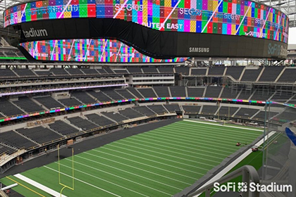 SoFi Stadium's 70,000 Square-Foot first-of-its-kind 4K LED videoboard, and five levels of fascia will give fans an experience to remember