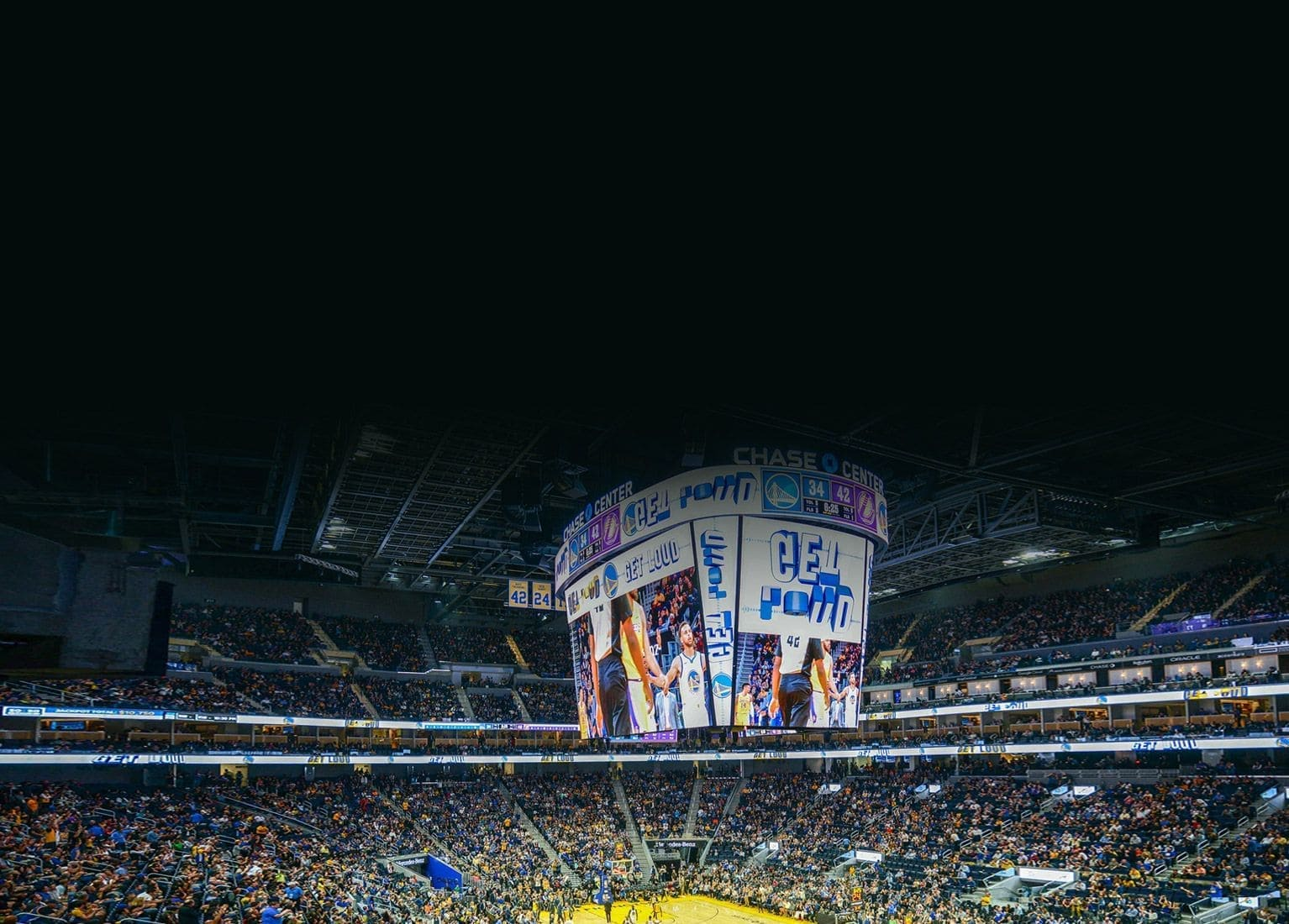 Samsung install NBA's Largest Centerhung LED Scoreboard at Chase Center